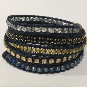 Chan Luu Blue Crystal Mix Wrap Bracelet
